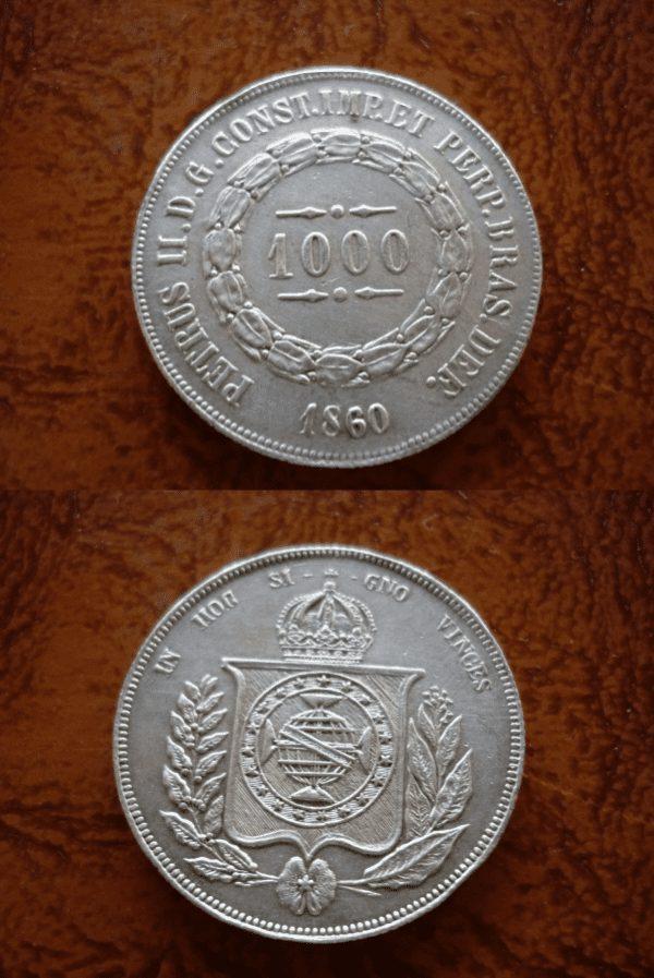 1000 reis prata 1860 Casa do Colecionador