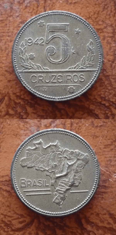 MOEDA 5 CRZS. 1942 DATA ESCASSA .