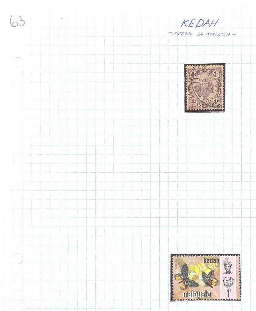 selos de kedah lote 63 Casa do Colecionador
