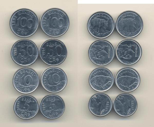 8 moedas crzs. reais Casa do Colecionador
