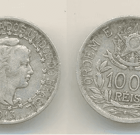 1000 reis prata 1913 estrelas ligadas Casa do Colecionador