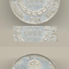 1000 reis 1856 variante ponto entre zeros 1 Casa do Colecionador