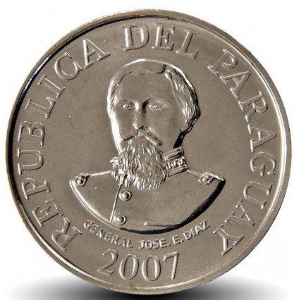 Moeda paraguay 100 guaranies general jose eduvigis diaz 2007 1 Casa do Colecionador