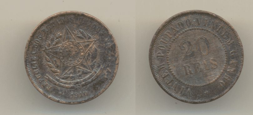 20 reis bronze 1910 Casa do Colecionador